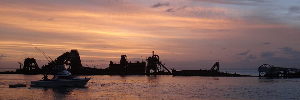 sunset over tangalooma wrecks